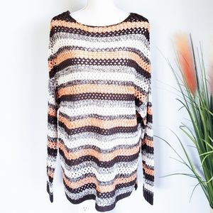 Umgee, Open Knit Crochet Over Sized Chunky Sweater